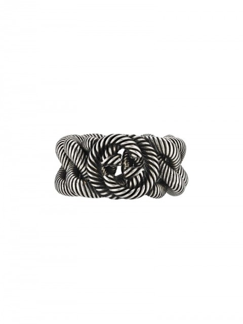 Gucci - twisted monogram ring - men - Sterling Silver - 58, 59, 54, 63, 56, 57, 60, 61, 62, 64, 65 - SILVER