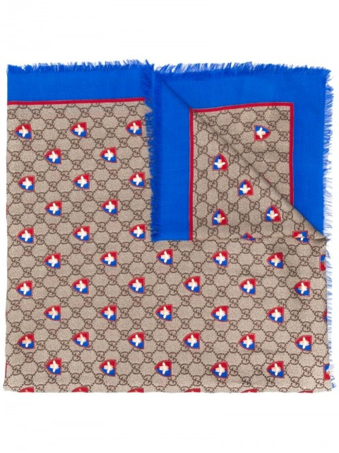 Gucci - GG and bees crest print scarf - men - Silk/Modal - One Size - Blue