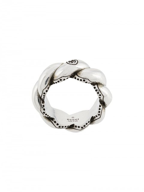 Gucci - woven ring - women - Sterling Silver Plated Brass - 17, 19 - SILVER