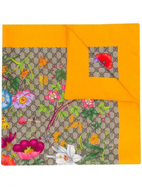 Gucci - Flora print silk scarf - women - Silk - One Size - Neutrals