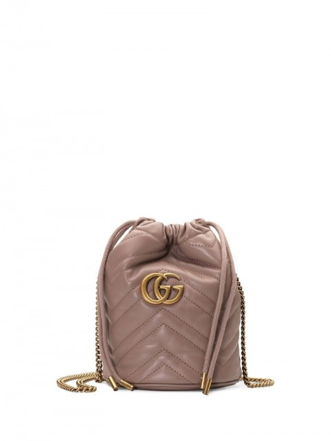 Gucci - GG Marmont mini bucket bag - women - Leather/Polyester/metal/Microfibre - One Size - Brown
