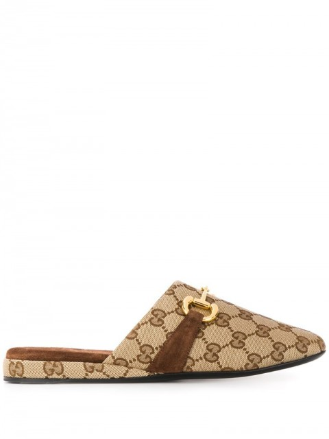 Gucci - monogram print slippers - women - Leather/Polyester - 36.5, 37, 38 - Brown