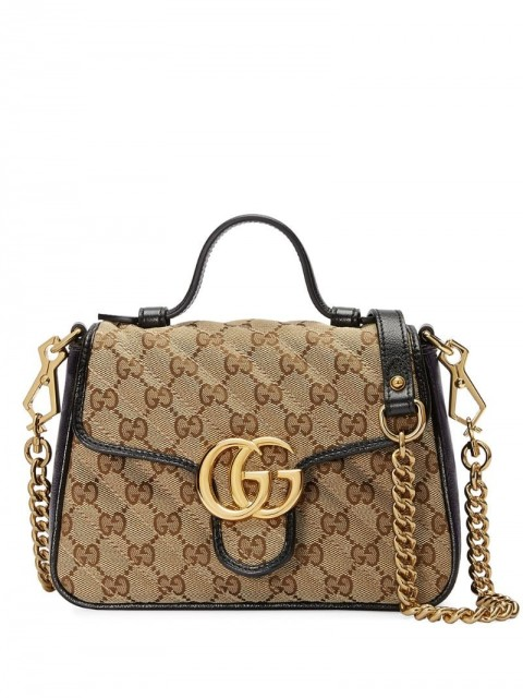 Gucci - mini GG Marmont tote bag - women - Canvas/Microfibre/Leather/Suede - One Size - Brown