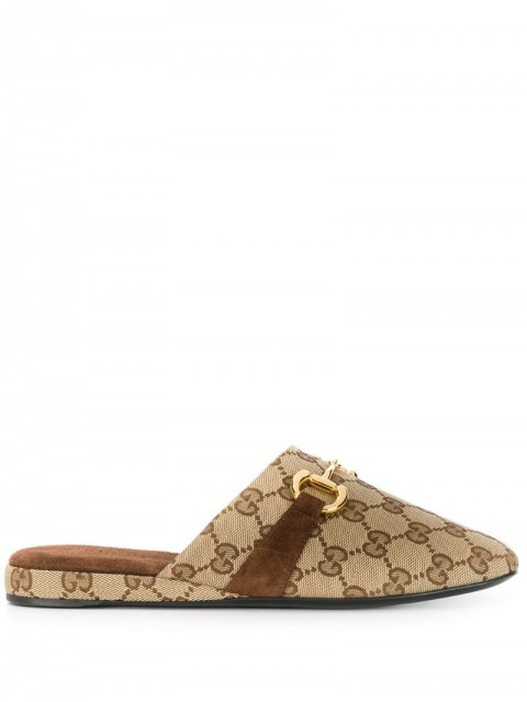 Gucci - monogram pattern Horsebit mules - women - Polyester/Leather - 38, 36, 41, 38.5, 35.5 - Brown