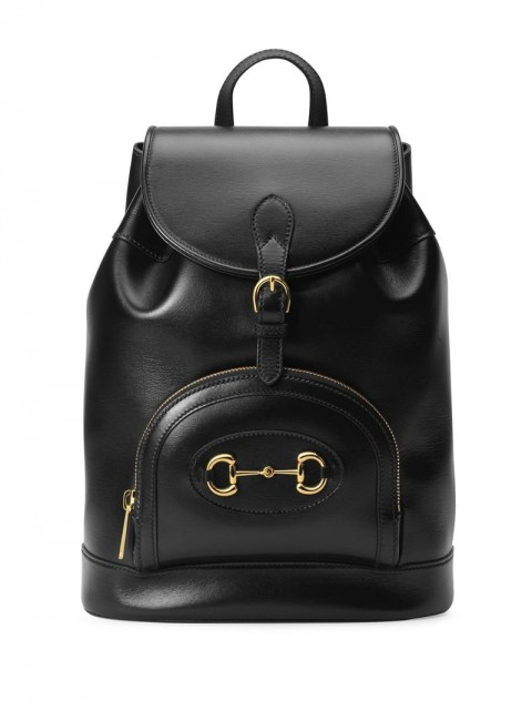 Gucci - Gucci 1955 Horsebit backpack - men - Cotton/Leather/Gold Plated Metal - One Size - Black