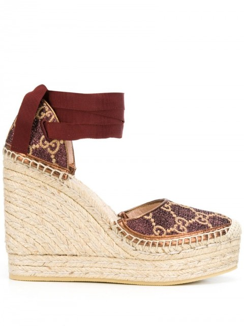 Gucci - Heritage GG 120mm platform espadrilles - women - Lamb Skin/Rubber/Fabric - 40.5 - Brown