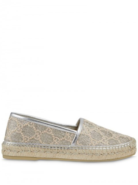 Gucci - Heritage logo espadrilles - women - Raffia/Leather/Rubber/Fabric - 35, 35.5, 36, 36.5, 37, 37.5, 38, 38.5, 39, 39.5, 41 - SILVER