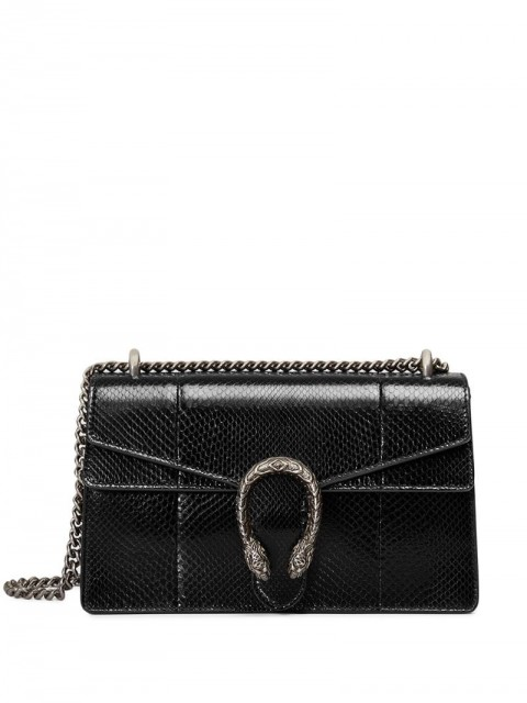 Gucci - Dionysus shoulder bag - women - Leather/Python Skin/Suede/Silver Plated Metal - One Size - Black