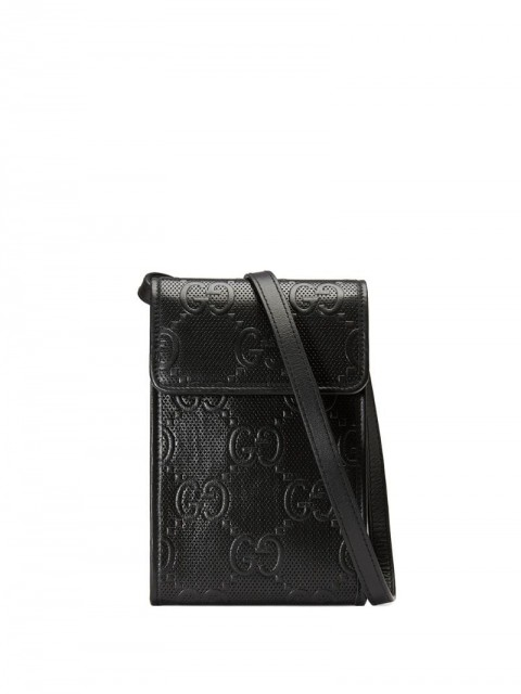 Gucci - GG Signature phone holder - men - Cotton/Linen/Flax/Leather/Viscose - One Size - Black