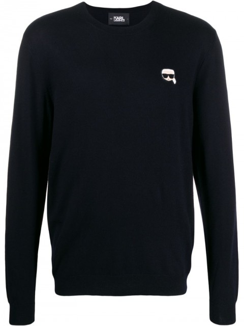Karl Lagerfeld - Karl logo embroidered sweater - men - Cotton - S, XS, XL, M, L - Blue