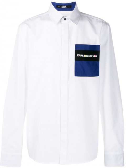 Karl Lagerfeld - logo patch embroidered shirt - men - Cotton - 37, 38, 39, 40, 41 - White