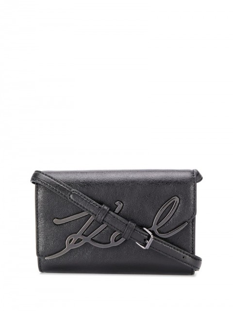 Karl Lagerfeld - K/Signature metallic belt bag - women - Leather - One Size - Black