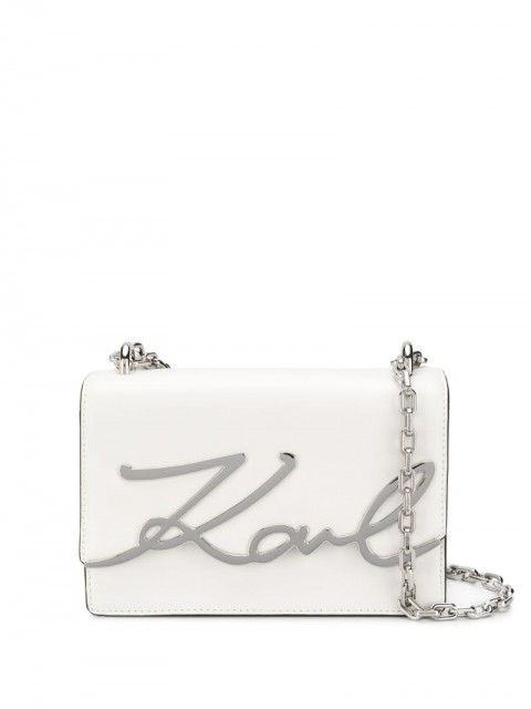 Karl Lagerfeld - K/Signature small shoulder bag - women - Leather - One Size - White