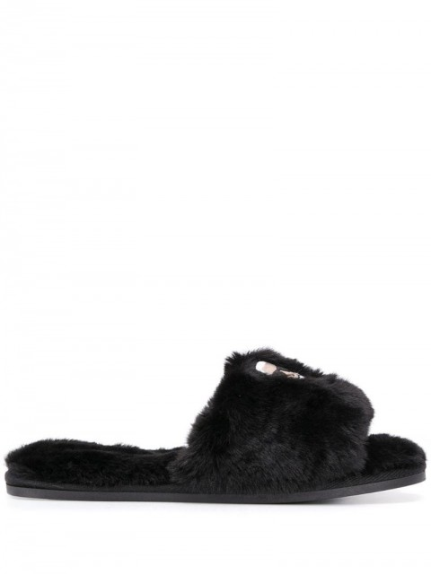 Karl Lagerfeld - Ikonic embroidered slippers - women - Polyester/Rubber - 37, 39, 41 - Black