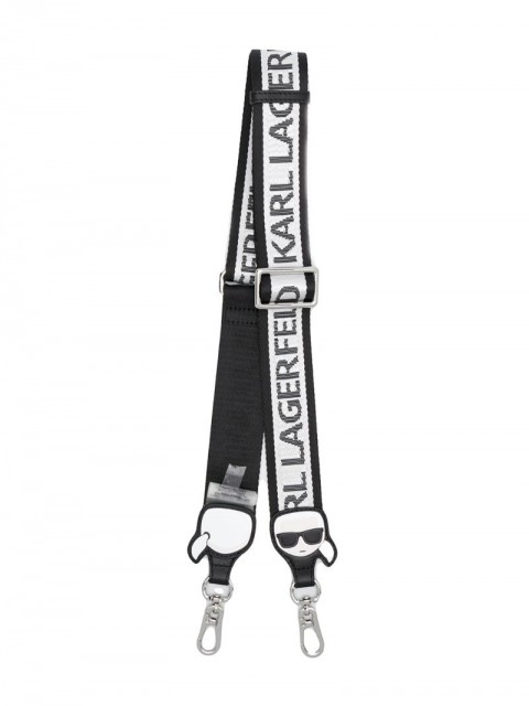 Karl Lagerfeld - logo print bag strap - women - Calf Leather/Polyamide - One Size - Black