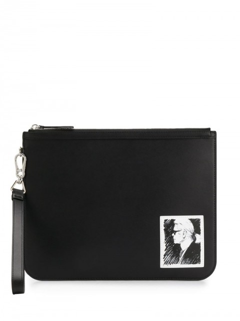 Karl Lagerfeld - printed clutch - women - Leather - One Size - Black