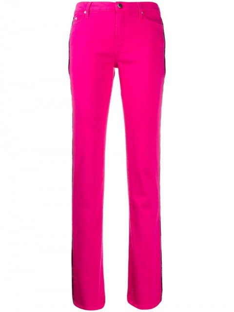 Karl Lagerfeld - striped trim flared trousers - women - Cotton/Polyester/Spandex/Elastane - 31 - PINK