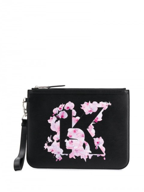 Karl Lagerfeld - K/Orchid clutch bag - women - Leather - One Size - Black