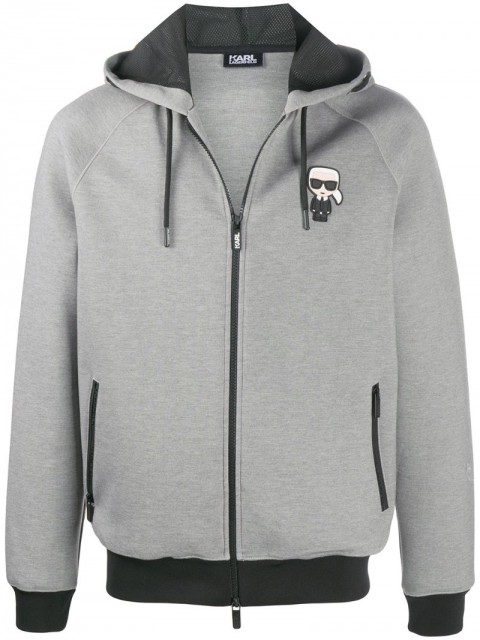 Karl Lagerfeld - Karl patch zipped hoodie - men - Polyester/Spandex/Elastane/Viscose - S, M, L, XL, XXL, XXXL - Grey