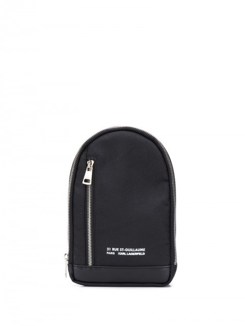 Karl Lagerfeld - printed logo backpack - men - Cotton/Leather - One Size - Black