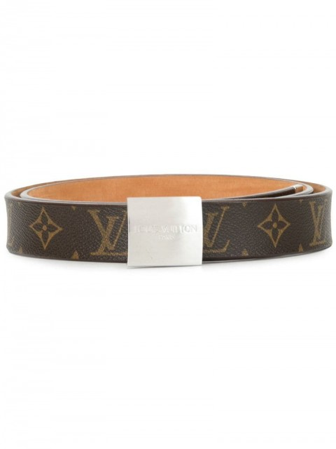 Louis Vuitton - 2003 Carre buckle belt - women - Leather/Canvas - One Size - Brown