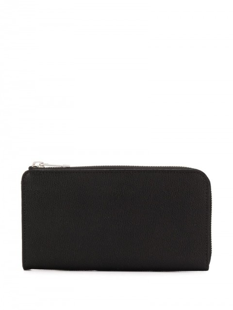 Maison Margiela - contrast stitch detail continental wallet - men - Calf Leather/Polyester - One Size - Black
