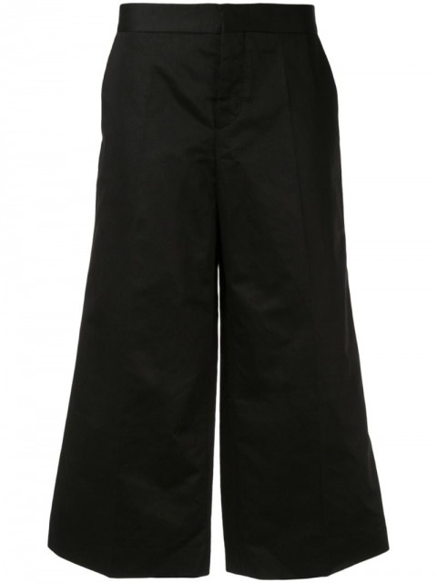 Marni - cropped high waisted trousers - women - Linen/Flax/Cotton - 46, 40, 44, 42, 36, 38 - Black