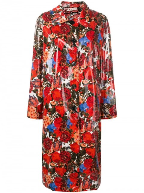 Marni - coated floral print coat - women - Cotton - 40, 38 - Red