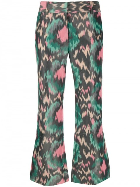 Marni - abstract print flared trousers - women - Cotton - 44, 36, 40, 46, 38, 42 - Green