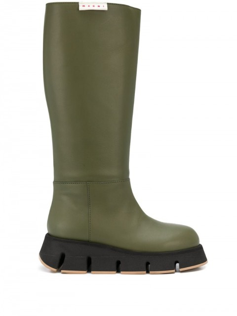 Marni - ridged boots - women - Calf Leather/Leather/Rubber - 36, 39, 37 - Green