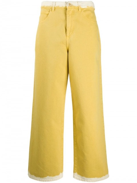 Marni - contrasting edges straight jeans - women - Cotton - 36 - yellow