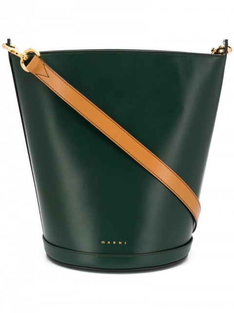 Marni - structured bucket bag - women - Calf Leather - One Size - Green