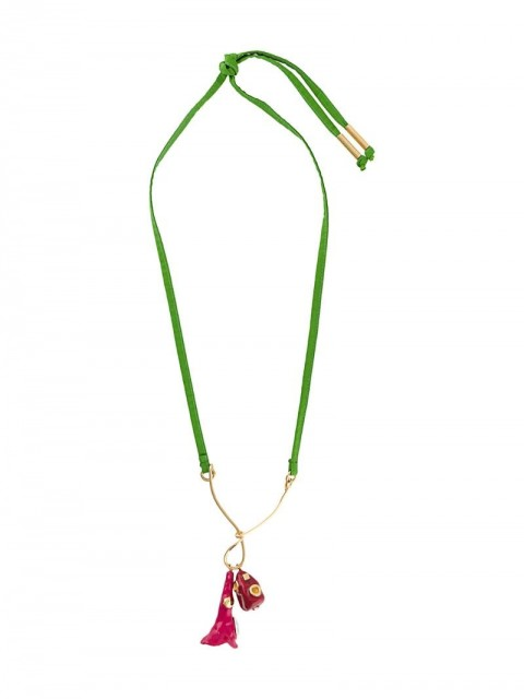 Marni - studded pendant necklace - women - Brass/Cotton - One Size - PINK