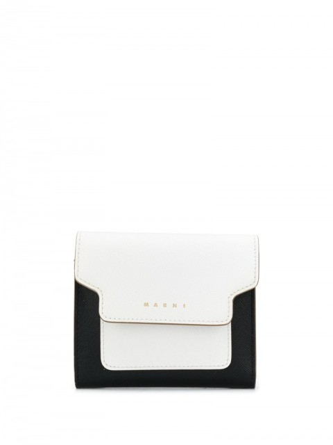 Marni - colour-block trifold wallet - women - Cotton/Leather/Brass - One Size - Black