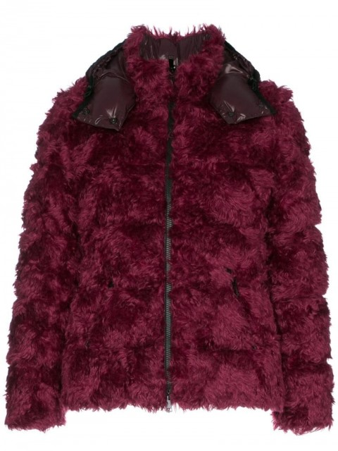 Moncler - fluffy padded jacket - women - Feather Down/Polyamide/Cotton/Mohair - 0, 1, 3 - 560 RED GREY