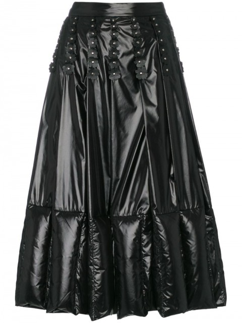 Moncler - Pleated and Quilted Midi Skirt - women - Sheepskin/Feather Down/Polyamide - 40 - Black