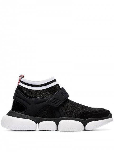Moncler - Black Velcro suede trim sock sneakers - women - Rubber/Polyamide/Leather - 39, 38, 37, 36, 38.5, 40, 36.5 - Black