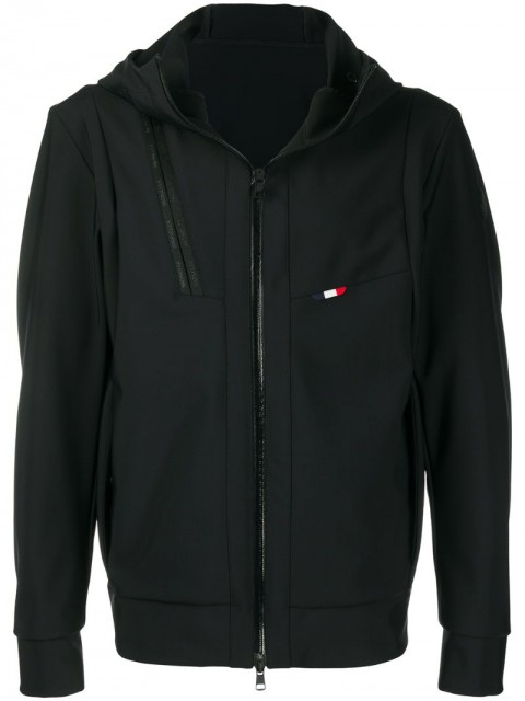 Moncler - logo hooded jacket - men - Polyamide/Spandex/Elastane - 4, 6, 1, 2, 3 - Black