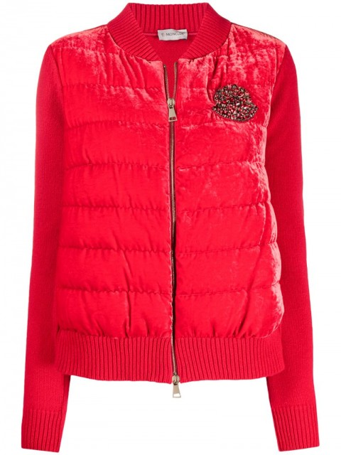 Moncler - padded-body beaded-logo jacket - women - Silk/Feather Down/Viscose/Virgin Wool - S - Red