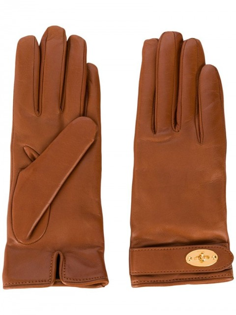 Mulberry - Darley leather gloves - women - Nappa Leather/Cashmere - 6.5, 7.5, 7 - Brown