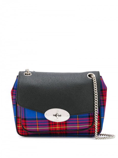 Mulberry - Darley tartan print shoulder bag - women - Leather/Polyester - One Size - Blue