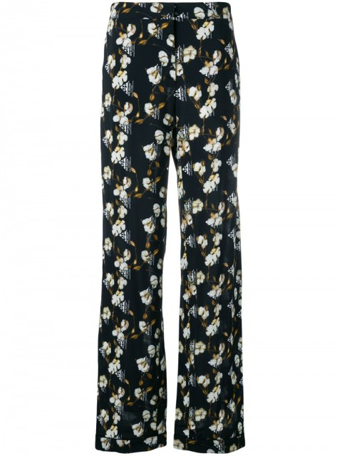 Off-White - cotton flower print trousers - women - Viscose/Polyester/Spandex/Elastane - 40 - Black