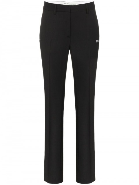 Off-White - high-waisted tailored trousers - women - Virgin Wool/Viscose/Spandex/Elastane/Polyester - 40, 42 - Black