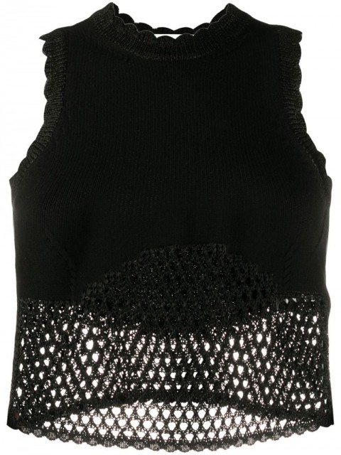 Off-White - scalloped-details open-knit top - women - Polyester/Acetate/Viscose - 40 - Black