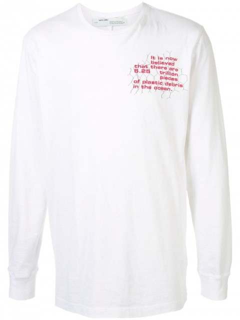 Off-White - printed long-sleeve T-shirt - men - Cotton - L - White
