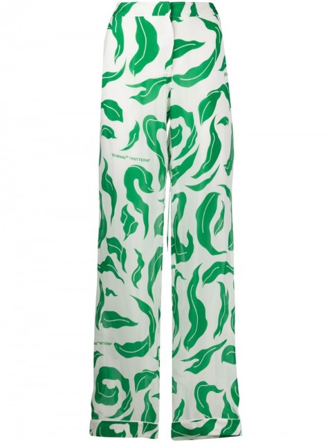 Off-White - Leaves Illusion palazzo pants - women - Silk/Polyester/Viscose - 40, 38, 42, 44 - White