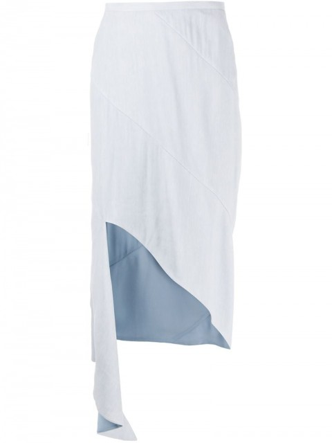 Off-White - asymmetric mid-length skirt - women - Linen/Flax/Polyester/Spandex/Elastane/Viscose - 42 - Blue