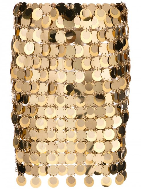 Paco Rabanne - sequin mini skirt - women - Plastic/Brass - 36, 40 - GOLD