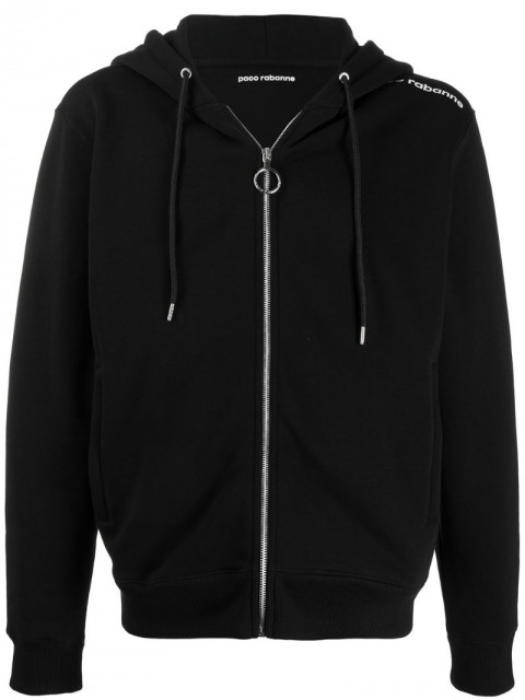 Paco Rabanne - logo shoulder cardigan - unisex - Cotton - L, XL, M - Black