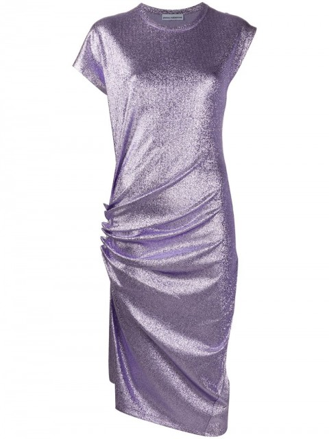 Paco Rabanne - metallic T-shirt midi dress - women - Polyester/Spandex/Elastane/Viscose - 36 - PURPLE